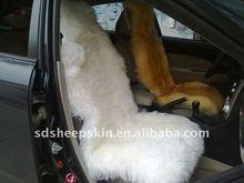 Korea Like Deluxe Long Wool Sheepskin Car Seat Cover (White)