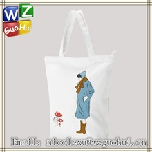 canvas tote bag for girls, cotton canvas tote bag with zipper closed