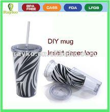 free change insert paper mug ,Plastic photo mug, photo mug. insert paper mug