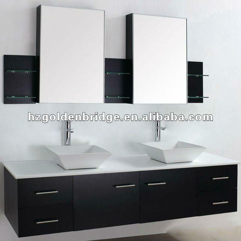 Lavabos Dobles Para Baño:Baño de lujo vanidad lavabo doble P002-Cuarto de baño Gabinete