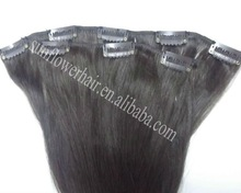 Premium quality 100% virgin Mongolian natural straight Clip-in human hair extension weaving weft 100% human remy virgin