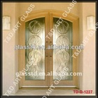 frosted unbreakable glass door with wave pattern