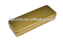 CC silver rectangular tin metal pencil box