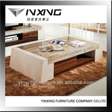 unique marble top with wooden veneer coffee table 098