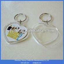 Customized Heart Shaped Plastic Acrylic Photo Blank Keychain Wholesale