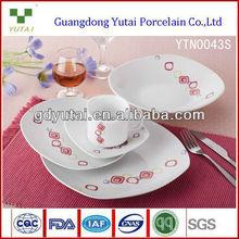 30pcs square shape cut decal royal classic bone china, elegant dinnerware sets