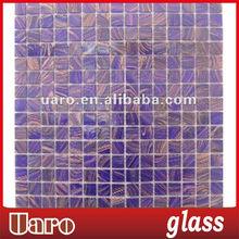 Golden line purple color resort glass mosaic