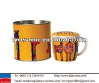 giraffe ceramic coffee mug in tin box