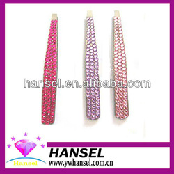 pink color metal automatic cute best eyebrows tweezers