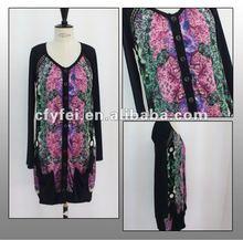 Ladies Silk Digital Print Dress With Lycra Sleeves