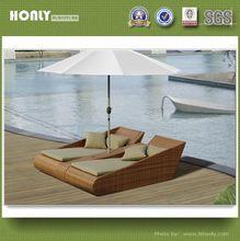 Rattan double outdoor sun bed