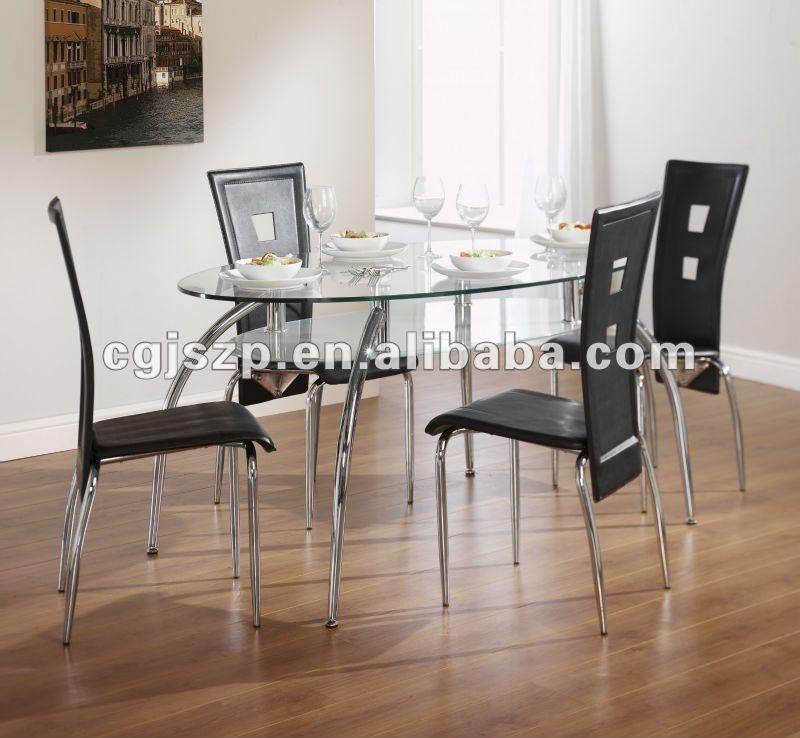 moderna sala da pranzo mobili in vetro temperato e metallo set da pranzo-Rist...