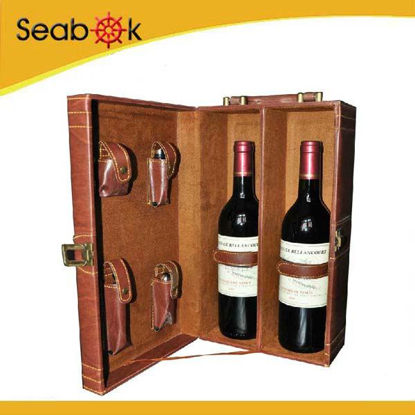 2 bottles Wine bottle box with tool box