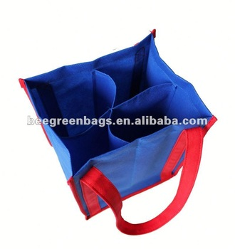 4-Pack PP Non Woven Wine Bottle Tote Bag