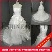 WRD12299 Lower price strapless pleated bodice tiered organza skirt wedding gown 2012