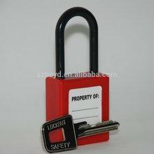 Resistant impact,UV,corrosion,heat ABS plastic professional keyed to master&alike long shackle safety padlock