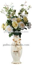 2014 new design white gold plated flower vase for home decoration