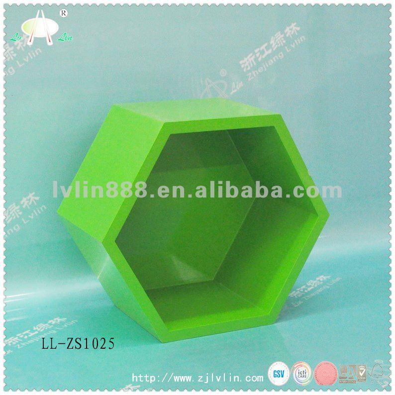 Hexagone Bois : Hexagone cube plateau, ?tag?re murale en bois, Mdf cube plateau pour