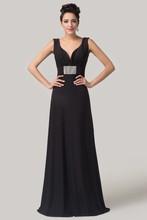2015 yeni seksi tasarım siyah uzun annesi gelin elbiseler derin v- boyun kristal kolsuz taban uzunluğu elbiseler cl6159
