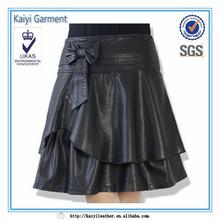 中国のサプライヤー蝶ネクタイ長い女性の革のスカート