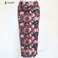 Falda larga de cintura alta con dibujos florales a la moda en korea.