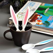 cute rabbit ear plastic spoon and fork / food grade kids tableware spork set