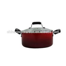 Aluminium change color non-stick cooking pot with lid