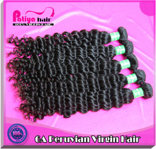2015 newest fashion style charming & glossy virgin remy hair products peruvian curly weave hair packs in PVC hair extensions bag