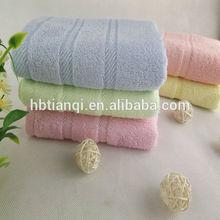Promotion plain color dobby border Spiral weave bamboo fiber towel