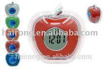 High quality colorful lcd digital table clock apple shape desktop alarm clock