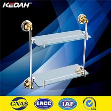 KD9114 wall mounted double tier gold bathroom corner glass shelf
