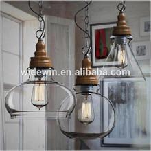 Forme différente grand verre transparent de lumière de plafond suspendu pour intérieure éclairage droplight