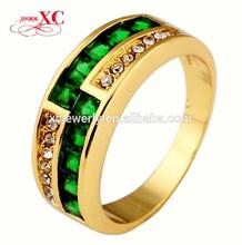 Women men's jewelry18k yellow gold emerald zircon wedding ring engagement ring top fashion