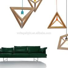Modern Replica Wooden Pendant Light Triangle Wooden Frame Hanging Light Fixture