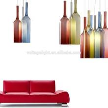 Decorative Colorful Glass Bottle Hanging Pendant Lights Chandelier For Bar