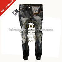 (#TG371M ) 2012 fashion ripped coat pant carbon black turkish jeans