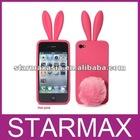 Fashion Silicon Rabbit Ear case for iphone 4 multicolor