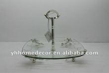 Fancy Design Metal Handle Glass Fruit Dish