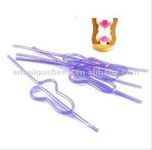 purple art shaped plastic drinking straw