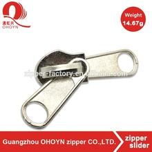 Wholesale 5# zipper slider with double puller nickel non lock zip runner