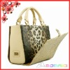Luxurious leopard cowhide leather lady handbag with colorful cover