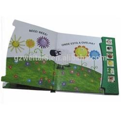 Children sound board book,music book with sound button