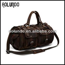 High quality genuine vintage leather duffel bag
