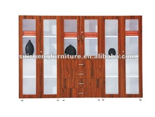 High quality six-doors glass wooden cheap file cabinet