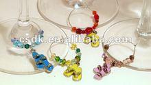 Set of 4 Silver-tone Enamel Flip Flop Sandal Themed Wine Glass Charms