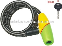 HL-501 GOOD QUALITY new arrial own design Ring type spiral cable lock with keys for bicycle and motorcycle