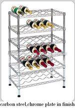 6 tiers metal chrome floor standing wine racks