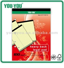Colore diverso ha stabilito di carta perforata, personalizzati legale pad, scrittura pad