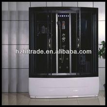 HTSR-1785E black glass rectangle sliding door steam shower room with baths