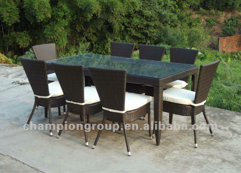 mesa jardim quadrada:Jardim Rattan 8 seater cadeiras e mesa de jantar móveis de vime